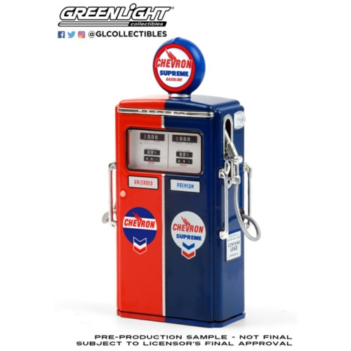 GL14090-C - 1/18 VINTAGE GAS PUMPS SERIES 9 - 1954 TOKHEIM 350 TWIN GAS PUMP CHEVRON SUPREME SOLID PACK