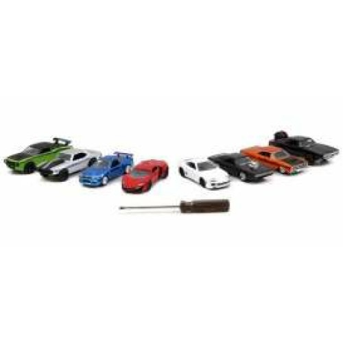 JAD14026W1-6 - X6 1/55 FAST AND FURIOUS CARS PLASTIC AND METAL KIT ASSORTMENT