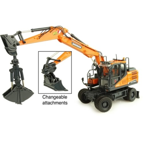 UH8134 - 1/50 DOOSAN DX160W WHEELED EXCAVATOR WITH TILTING AND CLAMSH